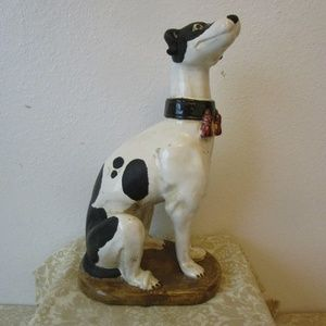 Vntg Glaze Ceramic Whippet Greyhound Dog Sculpture